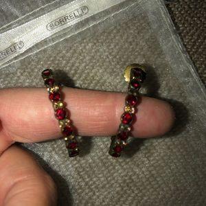 Sorrelli Garnet and Gold Hoop Earrings
